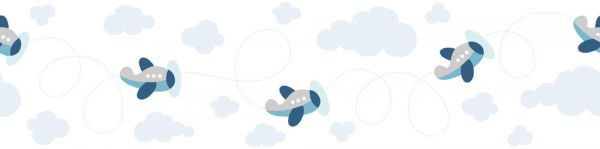 Selbstklebende Bordüre Flugzeuge am Himmel 5,00m x 0,155m